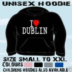 I LOVE HEART DUBLIN IRELAND UNISEX HOODIE HOODED TOP